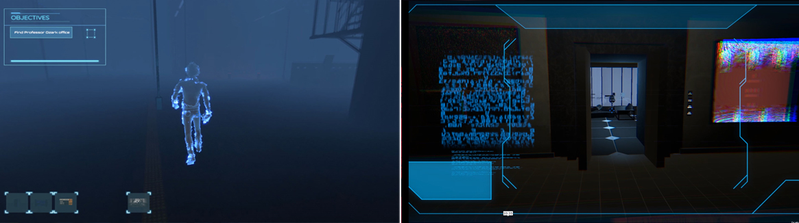 Stills of game showing futuristic hologram person and room
