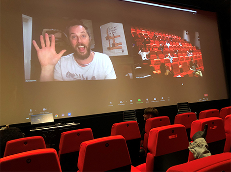 Duncan Jones on Zoom with students in NFTS cinema