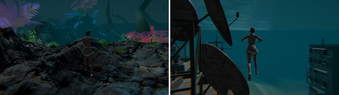 Stills from grad game showing character underwater in a marine environment