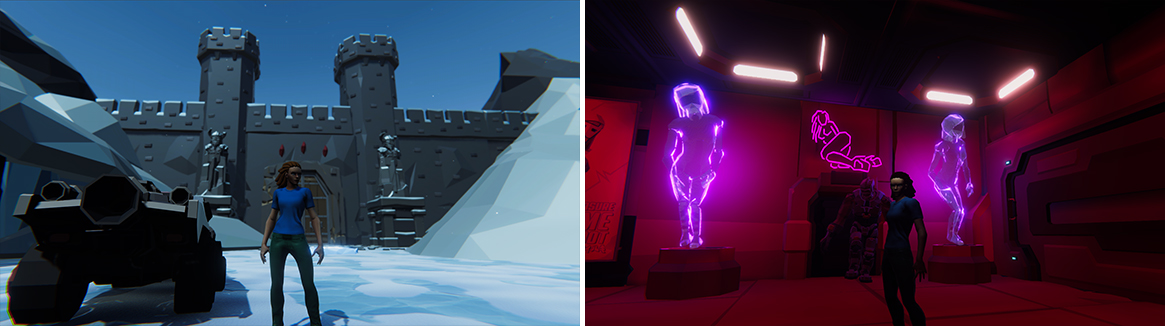 Stills from game showing character in snowy environment and inside a club
