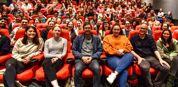 Louis Theroux with students in the NFTS main cinema