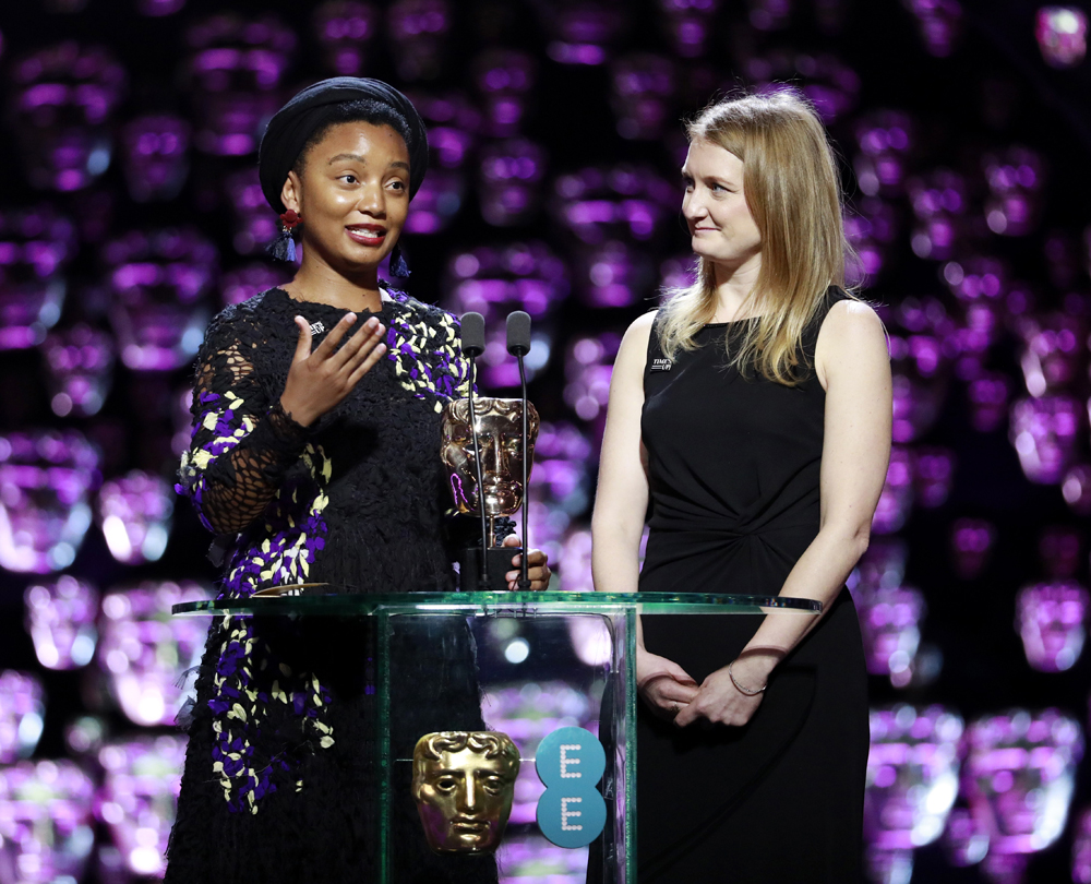 Emily Morgan and Rungano Nyoni collecting their BAFTA