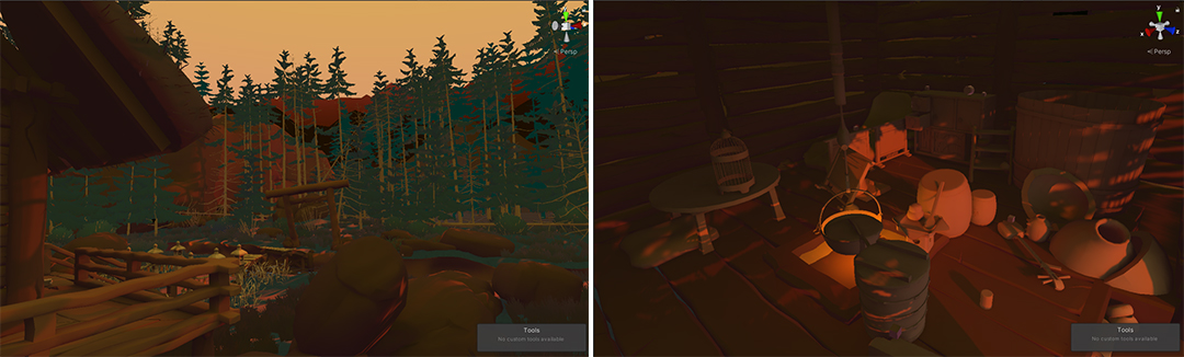 Still from game showing a forest landscape and inside of a cabin