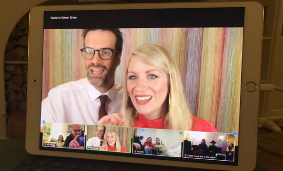 Marcus Brigstock and Rachel Parris on ipad screen