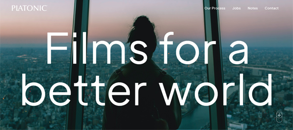 "Screenshot from Platonic.co that says ""Films for a better world"""