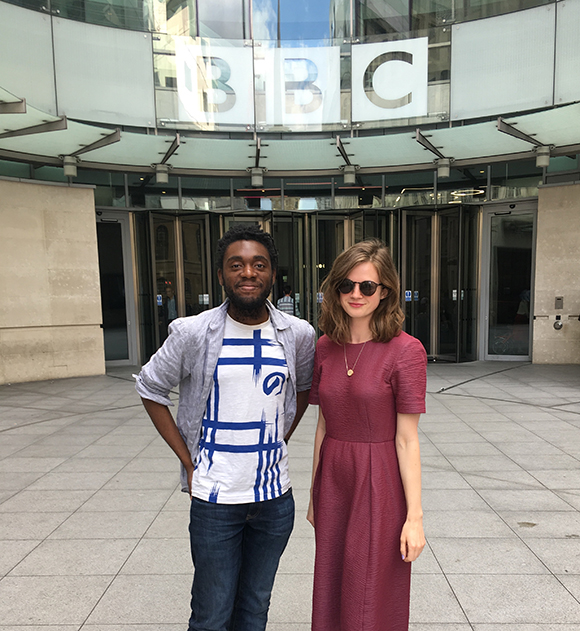 Mdhamiri A Nkemi  and Sabina Smitham outside BBC